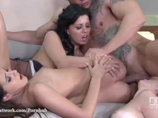 DDF Network-Pussy Abundance - One Cock Stuffs 3 Shaved Pussies And Asses