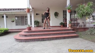 Beautiful ts solo pleasuring outdoors
