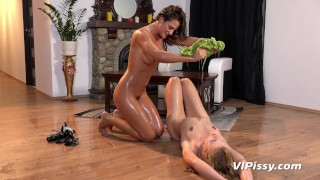 Lesbians Desperate To Pee While Fucking With Strapon During Yoga Session  sex-toy clit rubbing strapon big-tits pissing blonde squirting lesbian brunette girl-on-girl peeing orgasm adult toys