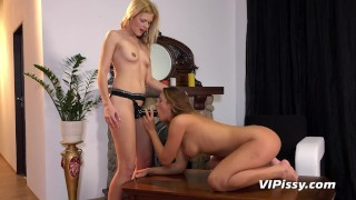 Lesbians Desperate To Pee While Fucking With Strapon During Yoga Session girl on girl clit rubbing big tits blonde squirting strapon peeing lesbian sex toy orgasm brunette pissing adult toys