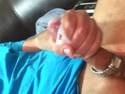 Gushing cock pumps cum after meaty manhandling.