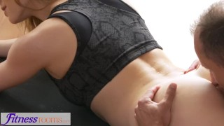 FitnessRooms Yoga master teaches young student sexual techniques Rubbing gagging