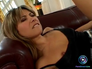 Long legged hottie blows and fucks in the living room
