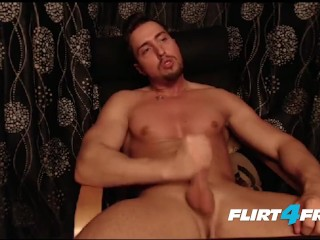 Clean Shaven Muscular Stud Jerks His Beautiful Uncut Cock