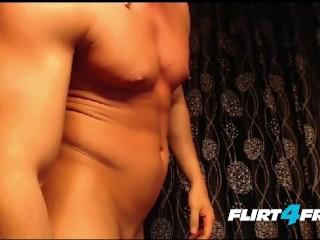 Clean Shaven Muscular Stud Jerks His Beautiful Uncut Cock