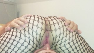 69 face grinding and squirt in fishnets