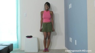 CastingCouchHD - Ebony teen will lick ass to be in a rap video Scissoring shaved