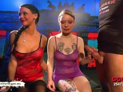 Blonde and brunette babes Fucked and glazed side by side – German Goo Girls