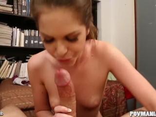 Hot young babe Jenna Jay gives head POV