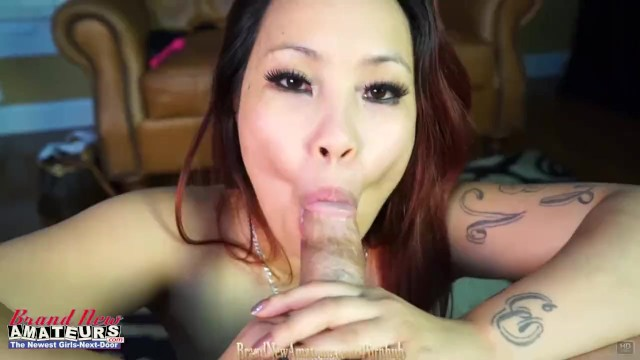 Asian girl on casting couch sucking cock
