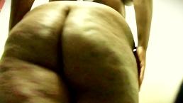 A Shy Plus-size Ebony Sista Strips Down Naked and masturbates in A Public R