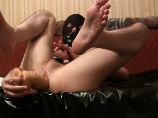 I masturbate with big dildo and gag