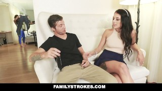FamilyStrokes - Mom Caught Me Fucking My Step-Sis  megan sage step siblings big cock cumshot hardcore smalltits brunette petite shaved bigcock facial step brother familystrokes step sis step sister facialize