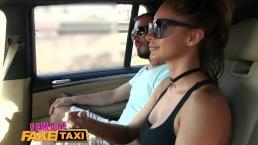 FemaleFakeTaxi Brunette cabbie fucked doggy style in car trunk