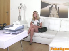 FakeAgent Fit blonde skinny model fucked on agent's office desk