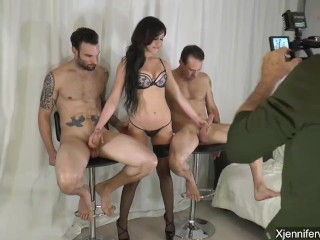 BTS - Jennifer White takes on 2 guys - part 2