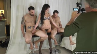 BTS Jennifer White takes on 2 guys part 2