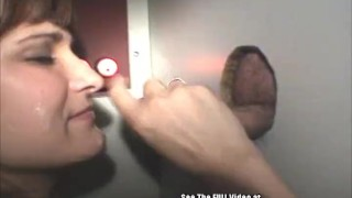 Horny Tits Wife Sucking and Swallowing Cocks In Glory Hole