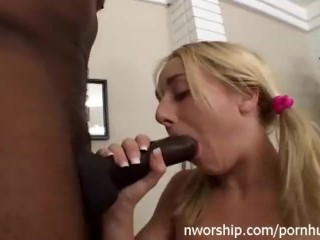 pink shaved pussy get wet for big black dick interracial sex