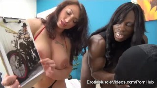 EroticMuscleVideos BrandiMae and Miss Treasure Train Slave To LOVE Cuckold big clit femdom bigtits fbb kink female bodybuilder big boobs bdsm eroticmusclevideos fitness muscle cuckold fetish
