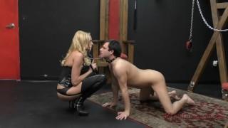 Briana Banks Femdom  big tits slave asslicking bdsm boots femdom blonde dungeon tattoo kink domme german mistress stockings assworship ass licking meandungeon