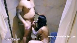 Indian Mona Bhabhi Sucking Big Cock In Shower Sex