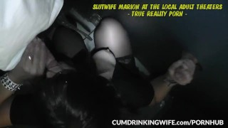 Slutwife Marion gangbanged by strangers at Adult Theaters Cumshot boobs