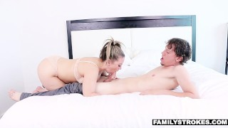 FamilyStrokes - Hot Milf Fucks Nerdy Step-Son On Vacation Rimming swallow