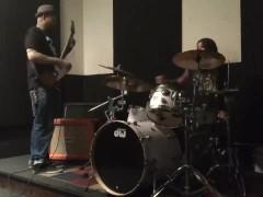 Felicity Feline jamming with Thundernaut guitarist