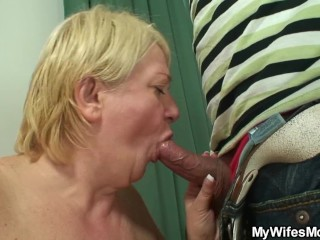 Horny blonde motherinlaw takes it from behind
