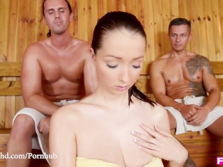Young Rimming Tube FuckinHD - Lucie Wilde hot Fuck with 2 guys in the Sauna