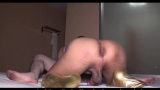 Big Cock Flat Chest And Gold Leggings