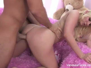 Interview and fucking with blonde cutie Vanessa Cage