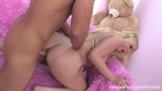Interview and fucking with blonde cutie Vanessa Cage Vaginal 3some