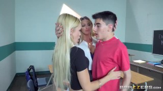 Brazzers - Teacher has threesome with two lucky students  teen threeway mom blonde brazzers young school 3some mother teacher threesome stockings teenager