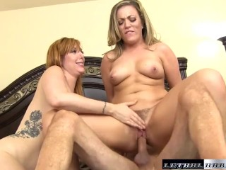 Pornstars Lauren and Carmen Valentina bounce their HUGE ass on a dick