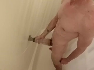 Wet and wild straight stroking dick shower fun part 2