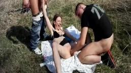 Brutally fisting shameless teen slut in public
