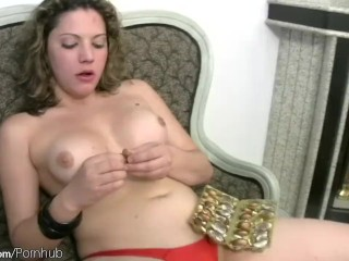 Tranny with plump shecock posing gets messy with chocolate