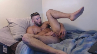 Muscular Transman FTM Stripping, Hard Pussy Fuck with Dildo Anal hardcore