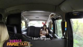 Preview 3 of FemaleFakeTaxi Cute Asian has Lesbian bonnet sex with big tits MILF
