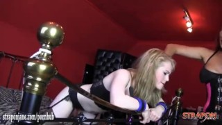 Horny femdom Strapon Jane spanks blondes sexy ass and fucks her tight pussy  big tits spanking british babe bdsm redhead femdom blonde hardcore lesbian brunette deepthroat mistress bondage straponjane big boobs adult toys girl on girl ass spanking lesbian strapon