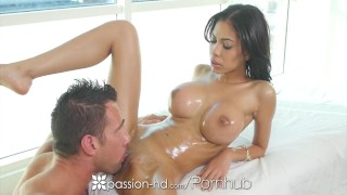Passion-HD - Busty Shay Evans sucks and fucks hard cock during massage Black doggystyle