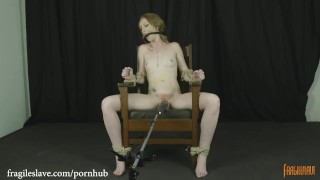 Katy Kiss Chair Tied and Cumming Strapon femdom