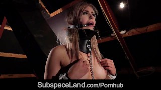 Hardcore bondage submission for busty blonde fucked in oral submission