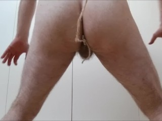 Second anal (1st day) on leash weird workout then drink cum - solo str8 guy