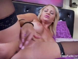 Wet and horny Daisy fucks herself to a giant orgasm