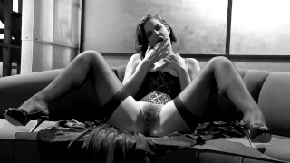 Corset the cutie a masturbating starr thigh highs and in couch bobbi on teasing bubble