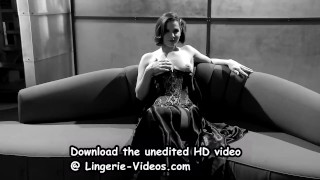 Cutie Bobbi Starr masturbating on the couch in a corset and thigh highs Cumshot jizz