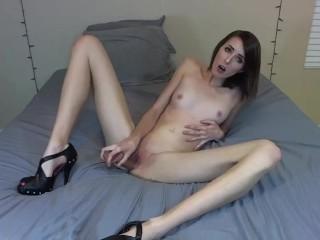 Brunette Sucks and Fucks Dildo In Sexy Heels